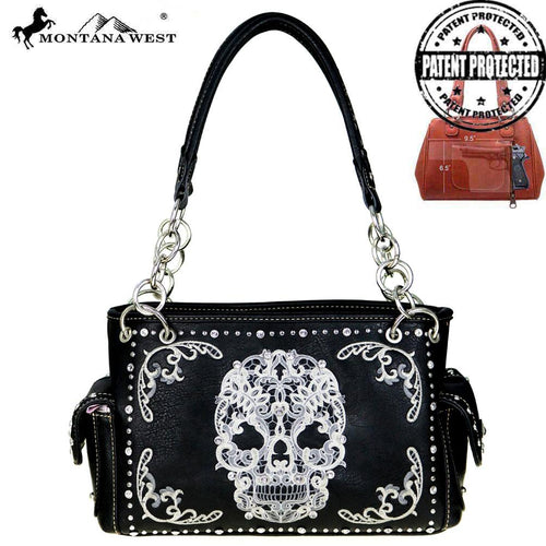 MW494G-8085  Montana West Sugar Skull Collection Concealed Carry Satchel