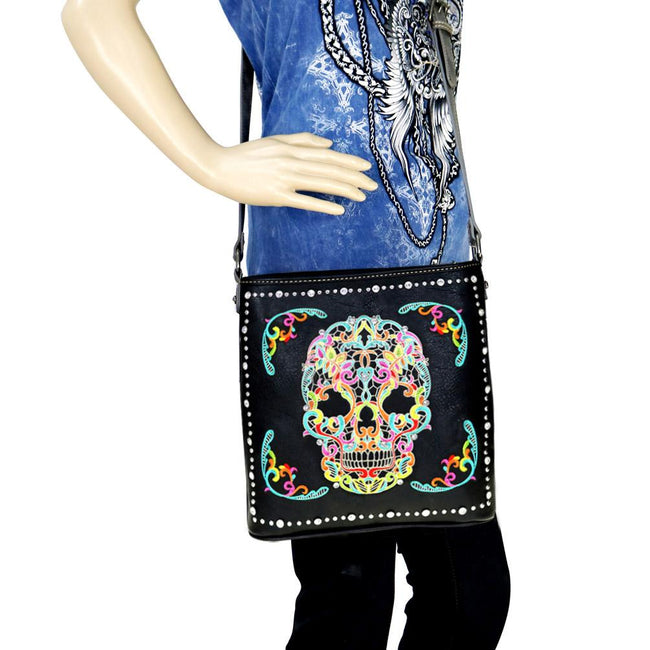 MW494G-8287 Montana West Sugar Skull Collection Concealed Carry Crossbody