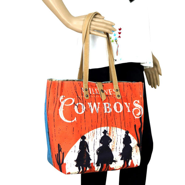 MW567-9317 Montana West Cowboys Collection Dual Sided Print Canvas Fabric Tote