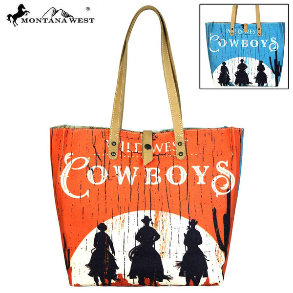 MW567-9317 Montana West Wild West Collection Dual Sided Print Canvas Fabric Tote