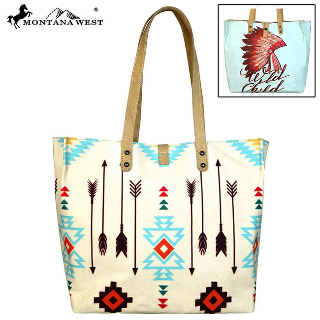 MW569-9317 Montana West Native American Collection Dual Sided Print Canvas Fabric Tote
