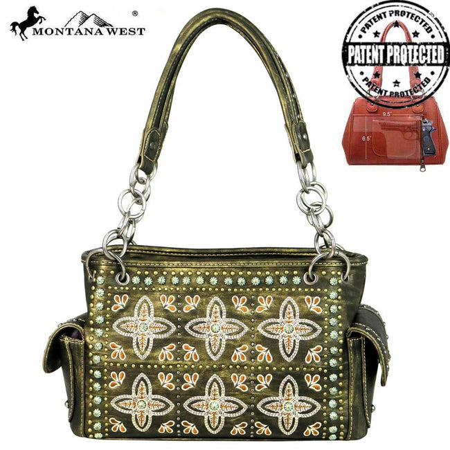 MW579G-8085 Montana West Embroidered Collection Concealed Handgun Satchel