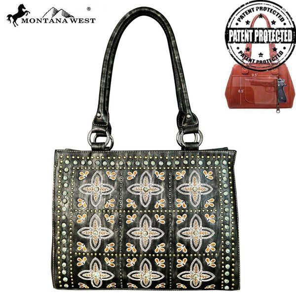 MW579G-8566 Montana West Embroidered Collection Concealed Handgun Tote/Crossbody