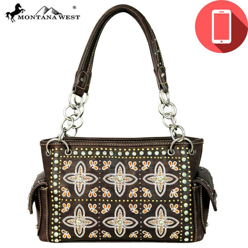 MW579P-8085 Montana West Embroidered Collection Phone Charging Satchel