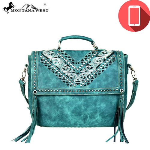 MW580P-8662 Montana West Embroidered Collection Phone Charging Satchel/Crossbody