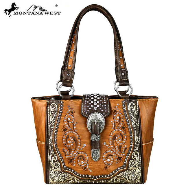 MW586-8250 Montana West Buckle Collection Trapezoid Tote