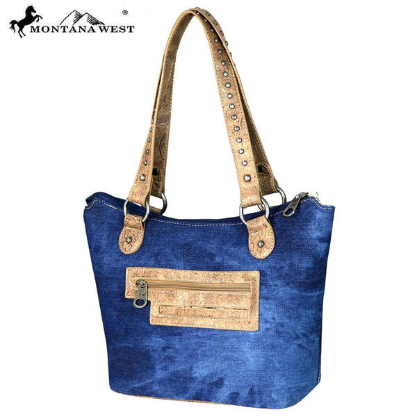 MW587-8304 Montana West Concho Denim Collection Tote Bag