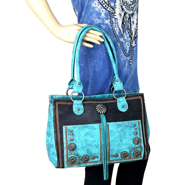 MW587G-8394 Montana West Concho Denim Collection Satchel Bag