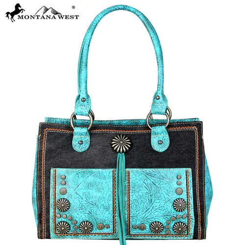 MW587-8394 Montana West Concho Denim Collection Satchel Bag