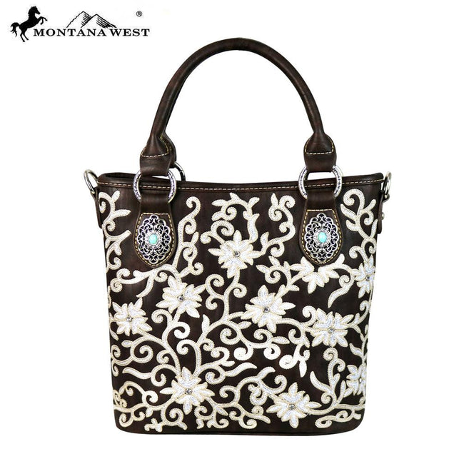 MW590-8461 Montana West Embroidered Collection Tote/Crossbody