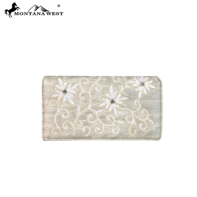 MW590-W010 Montana West Embroidered Collection Secretary Style Wallet