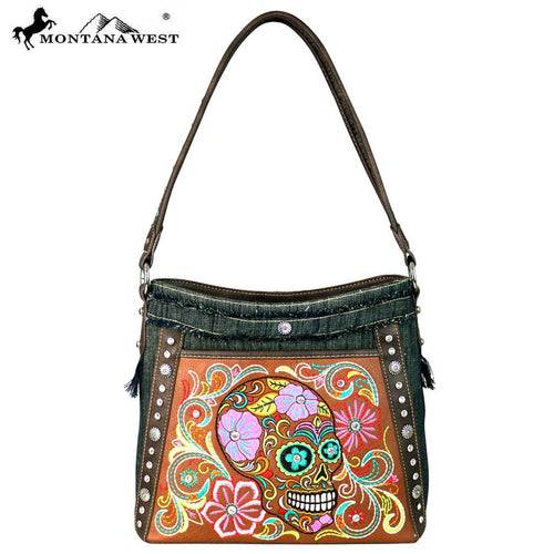 MW601-8291 Montana West Sugar Skull Denim Collection Hobo