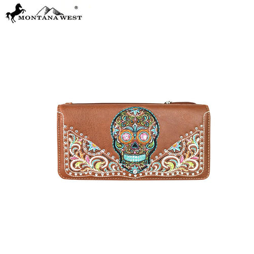 MW602-W021 Montana West Sugar Skull Collection Secretary Style Wallet