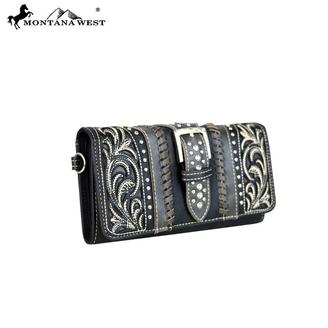 MW614-W018 Montana West Buckle Collection Secretary Style Wallet