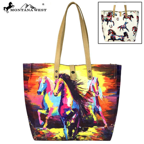 MW617-9317 Montana West Horse Collection Dual Sided Print Canvas Fabric Tote