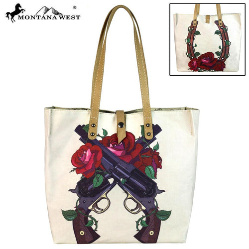 MW618-9317 Montana West Wild West Collection Dual Sided Print Canvas Fabric Tote