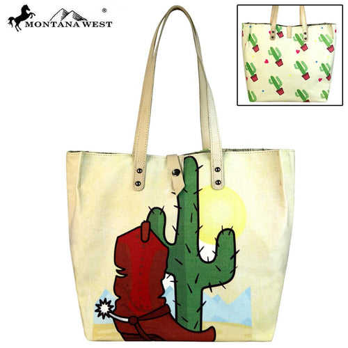 MW619-9317 Montana West Wild West Collection Dual Sided Print Canvas Fabric Tote