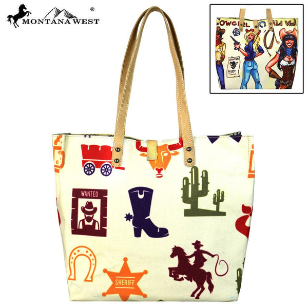 MW620-9317 Montana West Cowgirl Collection Dual Sided Print Canvas Fabric Tote