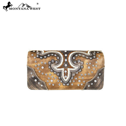 MW628-W018 Montana West Bling Bling Collection Secretary Style Wallet