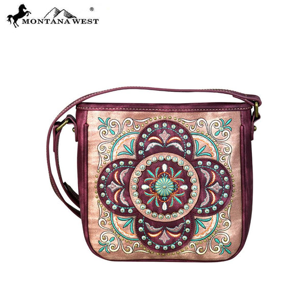 MW637-8360 Montana West Embroidered Collection Crossbody Bag