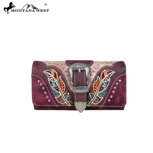 MW656-W018 Montana West Buckle Collection Secretary Style Wallet