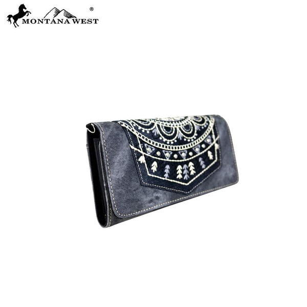MW675-C018 Montana West Embroidered Collection Wallet/Crossbody