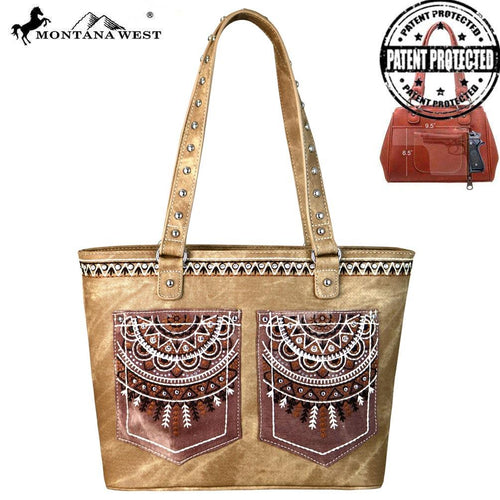 MW675G-8317 Montana West Embroidered Collection Concealed Carry Tote