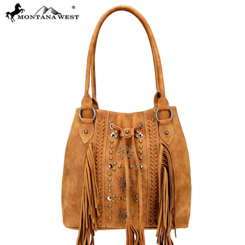 MW717-8275 Montana West Fringe Collection Drawstring Tote