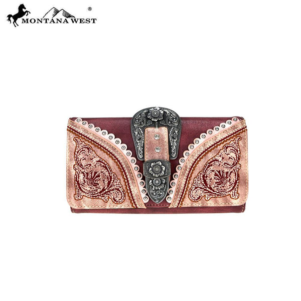 MW719-W018 Montana West Buckle Collection Secretary Style Wallet