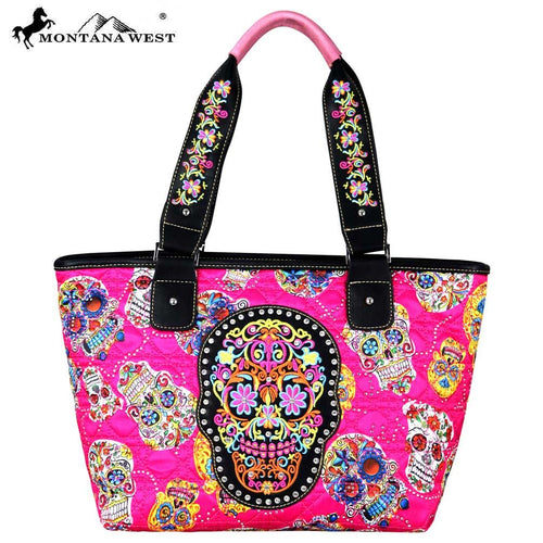 MW720-8317 Montana West Sugar Skull Collection Wide Tote