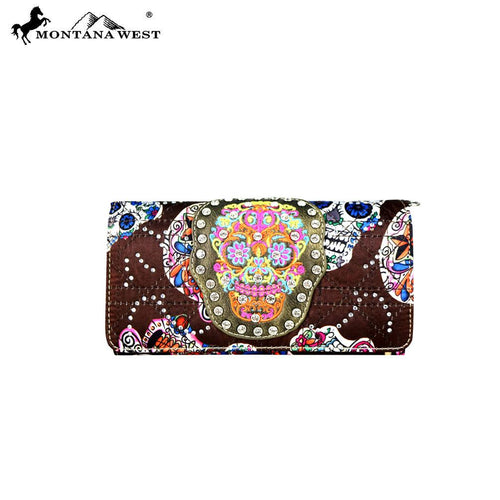 MW720-C018 Montana West Sugar Skull Collection Wallet/Crossbody