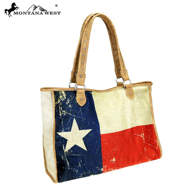 MW739-8112 Montana West Texas Pride Collection Canvas Tote Bag