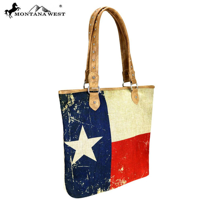 MW739-9318 Montana West Texas Pride Collection Canvas Tote Bag