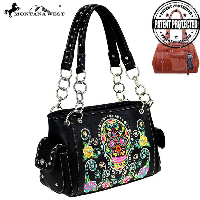 MW741G-8085 Montana West Sugar Skull Collection Satchel