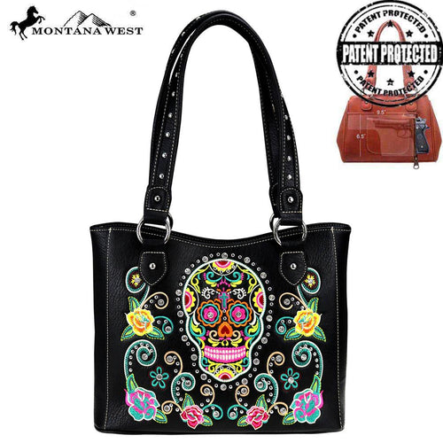 MW741G-8248 Montana West Sugar Skull Collection Concealed Carry Tote