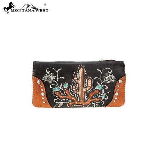 MW757-W021 Montana West Embroidered Collection Secretary Style Wallet