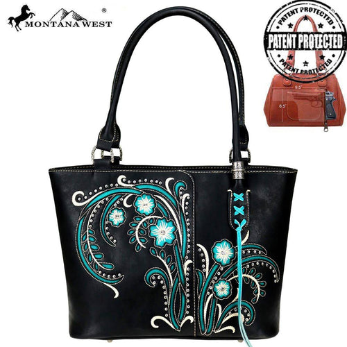 MW758G-8014 Montana West Embroidered Collection Concealed Carry Tote