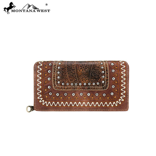 MW760-W010 Montana West Tooled Collection Secretary Style Wallet