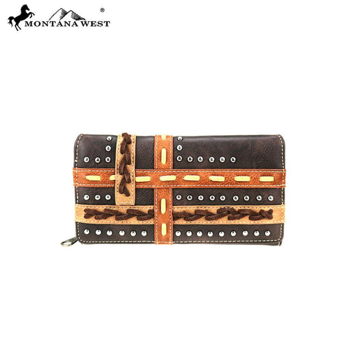 MW762-W010 Montana West Concho Collection Secretary Style Wallet