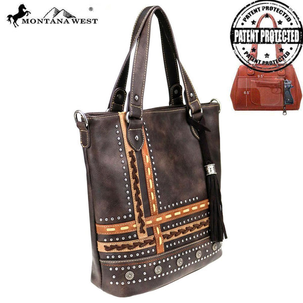 MW762G-8575 Montana West Concho Collection Concealed Carry Tote/Crossbody