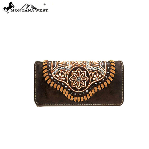 MW763-W018  Montana West Embroidered Collection Wallet/Wristlet