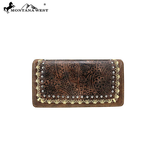 MW766-W010 Montana West Tooled Collection Secretary Style Wallet
