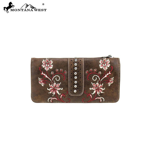 MW769-W021 Montana West Embroidered Collection Secretary Style Wallet