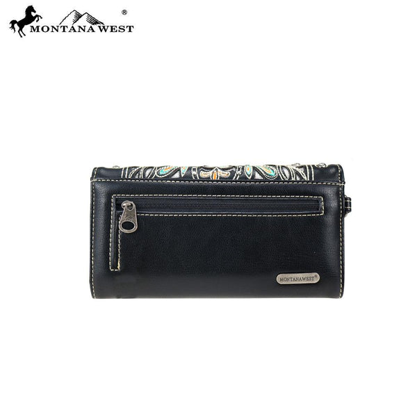 MW786-C018 Montana West Embroidered Collection Secretary Style Wallet/Crossbody