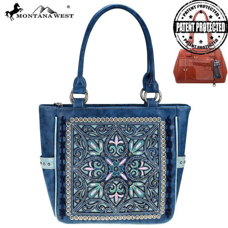 TR74G-8317 Trinity Ranch Tooled Leather Collection Concealed Carry Tote