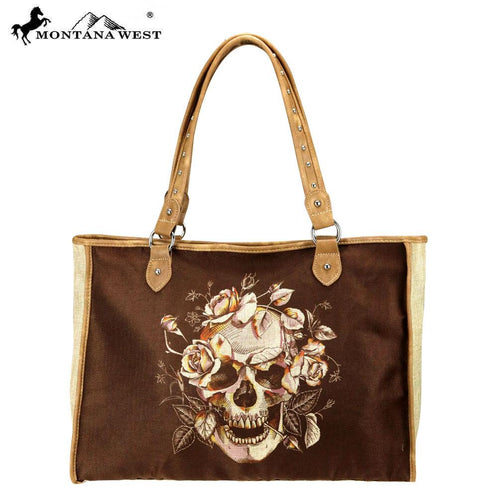 MW804-8112 Montana West Sugar Skull Painting Canvas Tote Bag