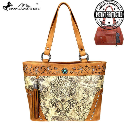 MW817G-8317 Montana West Tooled/Embossed Collection Concealed Carry Tote