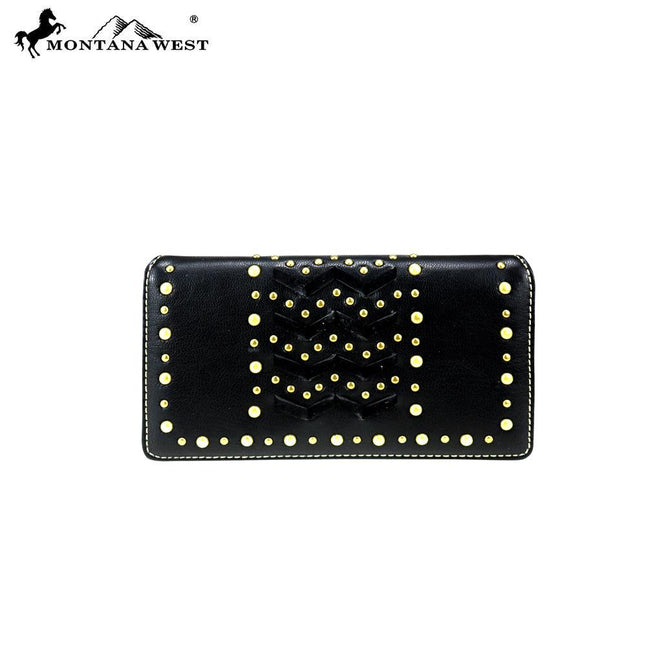 MW818-W010 Montana West Studs Collection Secretary Style Wallet