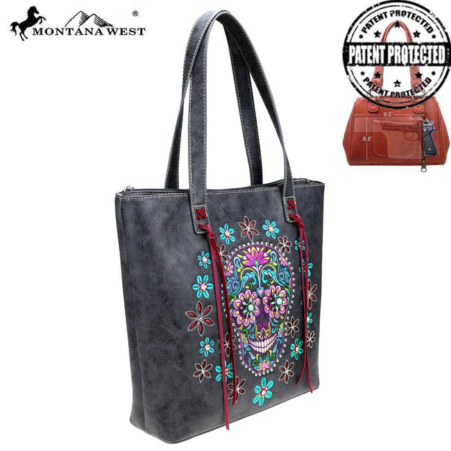 MW826G-8113 Montana West Sugar Skull Collection Concealed Carry Tote Bag