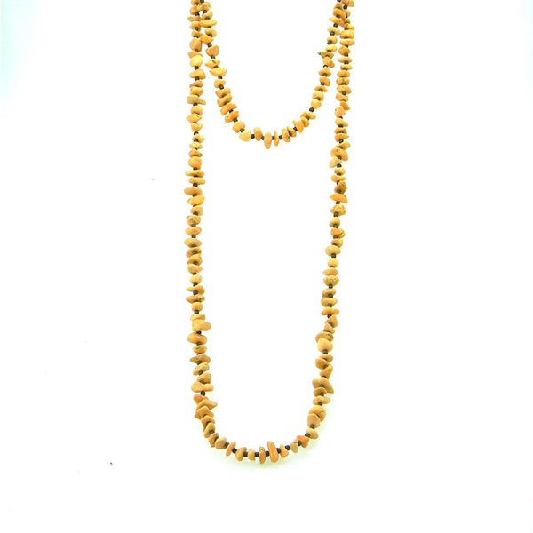 "NKS180510-03  60""L ORANGE TQ BIG CHIPS W/SEED BEADS NECKLACE"
